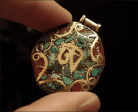 OM Tibetan Pendant -Turquoise and Coral