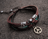 Peace Symbol Leather Bracelet