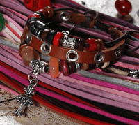 Rustic Leather Beads Bracelet