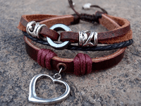 Rustic Leather Love Bracelet