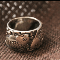 Silver Double Fish Lucky Ring