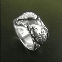 Silver Double Fish Ring