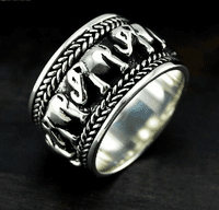 Silver Elephant Spinning Lucky Ring