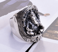Silver Garnesh Buddha Ring