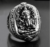 Siver Garnesh Buddha Ring