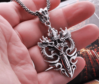 Sterling Silver Dragon Cross Amulet
