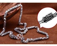 Silver OM Mani Dragon Necklace