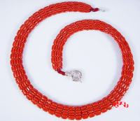Sterling Silver Red Coral Necklace