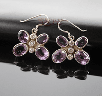Tibetan Amethyst Butterfly Earrings