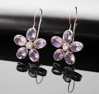 Tibetan Amethyst Flower Earrings