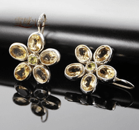 Tibetan Citrine Flower Earrigns