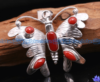 Tibetan Coral Butterfly Pendant