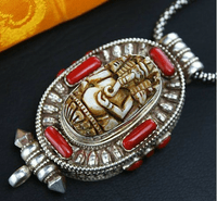 Tibetan Ganesh Coral Prayer Box Pendant