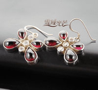 Tibetan Garnet Butterfly Earrings