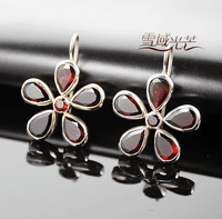 Tibetan Garnet Flower Earrings