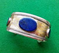 Old Turkmenistan Silver Lapis Lazuli Bracelet Old Silver Women Bangle