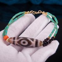 Tibetan Old Three Eyed DZI Beaded Bracelet - sold out