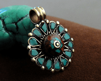 Tibetan Pendant -Turquoise and Coral