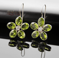 Tibetan Peridot Flower Earrings
