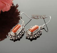 Tibetan Red Coral Earrings