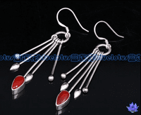Tibetan Sterling Red Coral Earrings