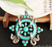 Tibetan Turquoise Dharma Wheel Pendant - Sold Out