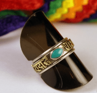 Tibetan Turquoise OM Mani Ring - Sold out