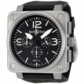 Bell and Ross BR0194-BL-ST Aviation Mens Chronograph Automatic Watch