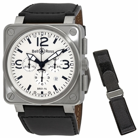 Bell and Ross BR0194-WHT-ST  Mens Chronograph Automatic Watch