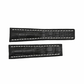 Breitling Black Watch Band Strap with White Stitching 24-20m
