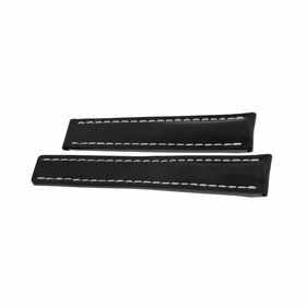 Breitling Watch Band Strap styled in Black Leather and White Stitching 20-18mm