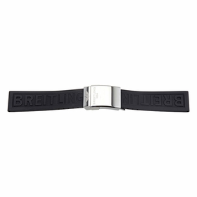 Breitling Black Rubber Strap with Stainless Steel Buckle 22-20 MM
