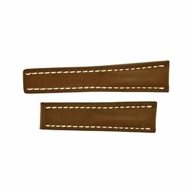 Breitling Brown Leather Strap with White Contrast Stitching 20-20mm