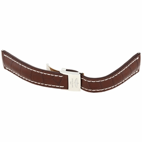 Breitling Brown Leather Strap with White Stitching and a Stainless Steel Folding Buckle 24-20mm