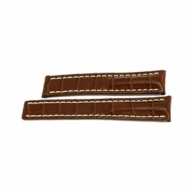 Breitling  Brown Strap with White contrast Stitching 20-18mm