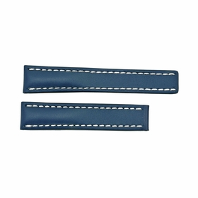 Breitling Strap styled in Blue Leather and White Stitching 20-18mm