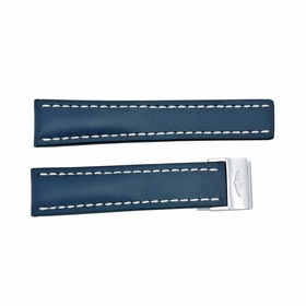 Breitling Strap styled in Blue Leather and White Stitching with a deployment Buckle 22-20mm