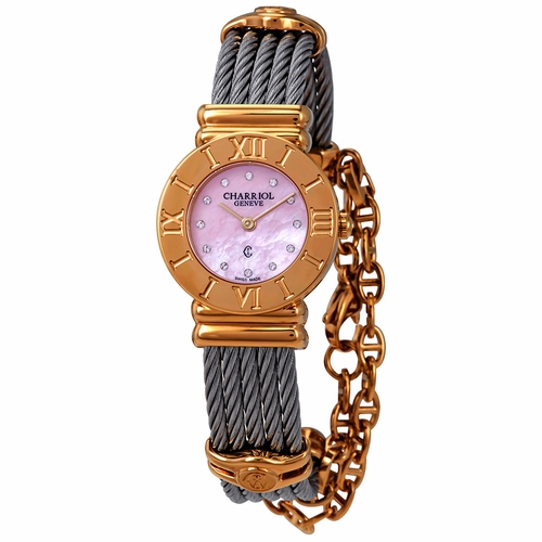 Charriol St-Tropez Pink Mother of Pearl Dial Two Tone Women's Watch