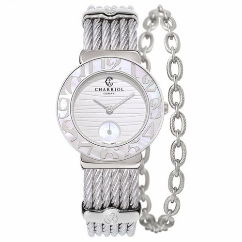 Charriol St-Tropez White Mother of Pearl Wave Dial Ladies Watch (ST30SWA1.560.039)