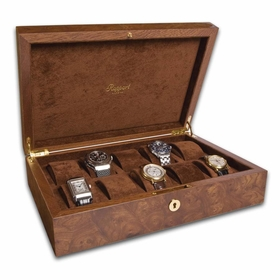 Rapport Portman 10 Watch Collector Case - Walnut Burl L275