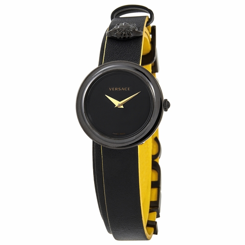 Versace VEBN00518 V-Flare Quartz Black Dial Black Leather Ladies Watch