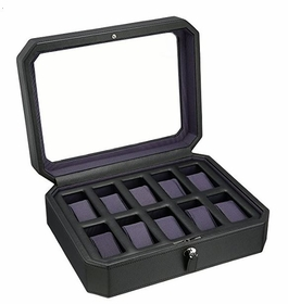 Wolf Windsor Ten Piece Black/Purple Watch Box 458403