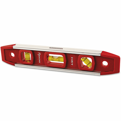 "Anchor 100-A581-9 Magnetic Torpedo Level, 9"" Long, Aluminum, Tri-Vial"