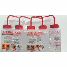 Azlon WGW537VTML-GHS Acetone Vented 500mL Wash Bottle Red Cap