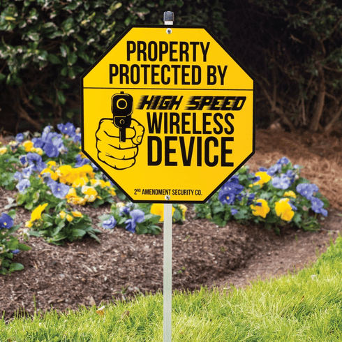 """BK4780 Wireless Device Warning Sign With Stake - Tough Plastic Construction, Weather-Resistant Artwork - 29"""" Tall"""
