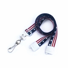 "BPID 2138-5081 Stars & Stripe 5/8"" (16 mm) Flat Breakaway Lanyard W/ Swivel Hook"