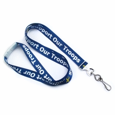 "BPID 2138-5255 Yellow Ribbon 5/8"" (16 mm) Flat Breakaway ""SUPPORT OUR TROOPS"" Lanyard W/ Swivel Hook"