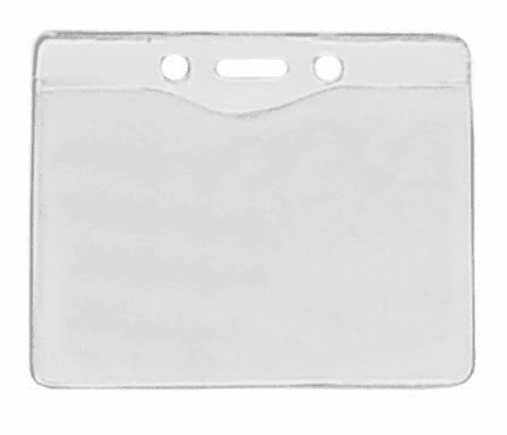 """BPID Clear Vinyl Horizontal Badge Holder with Slot and Chain Holes, 3.3"""" x 2.5"""""""