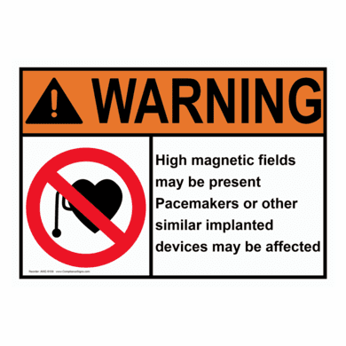 """Compliance Signs AWE-8159 """"WARNING HIGH MAGNETIC FIELDS MAY BE PRESENT"""""""
