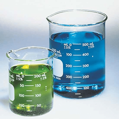 Corning Pyrex 1000-10 10ml Low Form, Double Scale, Graduated Beakers